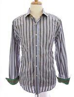 Robert Graham Mens Button Down Shirt Embroidered Flip Up Cuffs Stripe Blue Sz XL