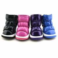 4Pcs Pet Dog Waterproof Anti-Slip Boots Puppy PU Winter Warm Snow Shoes Booties