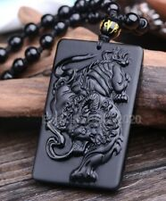 Natural Black Obsidian Carved Blessing Tiger Lucky Pendant + Beads Necklace