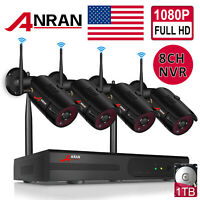 ANRAN Home Outdoor Security Camera System CCTV 1080P HD 8CH NVR Wireless 1TB HDD