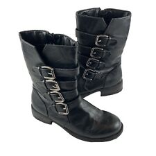 Rampage Ibby Women's 8 Black Faux Leather Combat Biker Style Boots