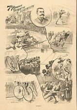 NY, 7th Regiment Athletic Association, Bicycle, Track Meet, 1890 Antique Print