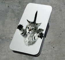 Naught Flying Cat Printed Faux Leather Flip Phone Case Cover Wallet