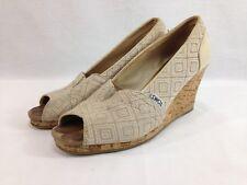 Toms Sandals Shoes Womens 8.5 Beige Canvas Peep Toe Cork Wedge Heels