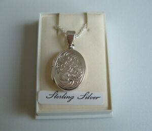 New 925 Sterling Silver opening locket pendant chain 20ins
