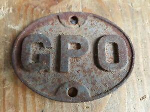 GPO Cast Iron Door Plaque Sign Plate General Post Office