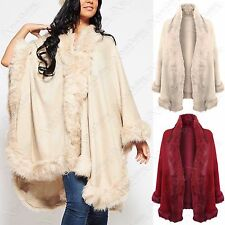 NEW WOMEN FAUX FUR CAPE PONCHO LADIES COAT WINTER WRAP SHAWL BLANKET THROW OVER