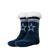 Dallas Cowboys Women's Stripe Logo Tall Footy Slippers - Size 6-10 NEW! Non Skid