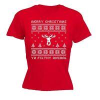 Merry Christmas Ya Filthy Animal Ladies T-SHIRT - Santa Funny Present Xmas Gift