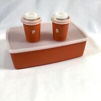 Tupperware Orange & Clear Salt Pepper Shakers & Rectangle Pac N Store 713-14 Vtg