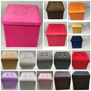 Soft Velvet Diamante Ottoman Folding Storage Box Footstool Seat new colour 2size