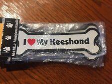 """I Love My Keeshond"" Bone Shaped Magnet"