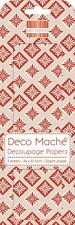 Red geometrica Natale Deco Cartapesta x 3 foglio di carta velina Patch prima edizione Craft