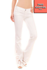 RRP €330 THE SEAFARER Jeans Size 25 Stretch Cut Out & Embroidered Cuffs Flared