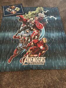 Avengers Full Size Reversible Bedding W 4 Curtain Panels 2 Pillow Shams