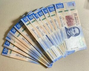 2019 Mexico 500 Peso Notes  Benito Juarez/Whales **From fresh pack of 100**