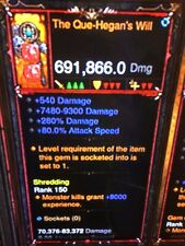 DIABLO 3 MODDED PRIMAL ANCIENT WEAPON THE QUE-HEGANS WILL HIGHEST DPS XBOX ONE