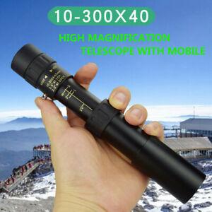 4K 10-300-40mm Super Telephoto Zoom Portable Monocular Telescope w/Tripod + Clip