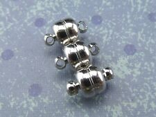 8 Magnetic Clasp Converters - Shiny Drum Style - Platinum Color - Jewelry