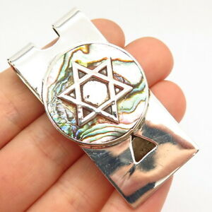 925 Sterling Vintage Mexico Abalone Shell Star of David Judaica Money Clip