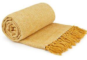 100% Cotton Herringbone Ochre Mustard Yellow Fringed Tassel Bed Chair Sofa Throw