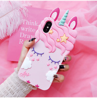 HOT 3D Case Cover  Cartoon Eyelash Unicorn Soft Silicone for iPhone X 8 7 6 5