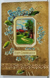 Hearty Congratulations Shimmering Gold to Ithaca Mich Embossed Postcard L20