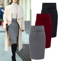 Women High Waist Long Pencil Skirts Bodycon Straight Dress Winter Warm Clubwear