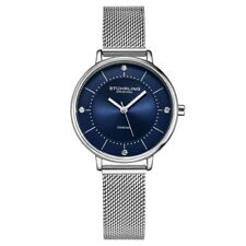 Stuhrling 3948 2 Crystal Accented Mesh Stainless Steel Bracelet Womens Watch