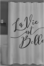 Printed White & Black French Life is Beautiful Fabric Waterproof Shower Curtain