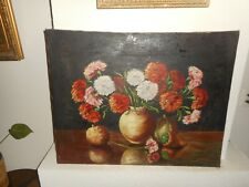 Large antique oil painting,{ Beautiful still life, pretty flowers, is signed }.