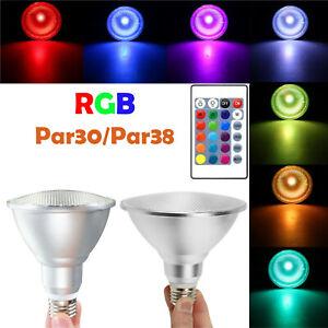 PAR 30 PAR 38 LED Flood Light Dimmable RGB Spotlight Bulbs E27 15W 25W Lamp ERM