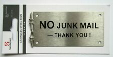 'No Junk Mail - Thank You' Stainless Steel 95mm x 47mm Sign New Screw On
