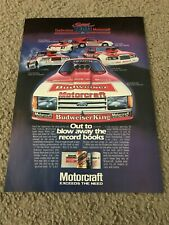 Vintage BUDWEISER FORD TEMPO FUNNY CAR Poster Print Ad SUPER STOCK MUSTANG CLEVE