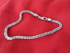 """Sterling Silver Criss Cross Chain Bracelet 7.5"""" - 7.75"""" Long"""