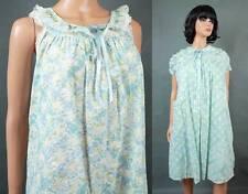 Vintage Peignoir Set M Blue White Floral Cotton Nightgown Robe Satin Lace Trim