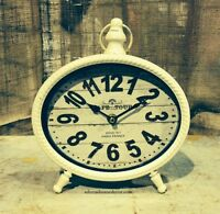 WHITE TABLE CLOCK SHABBY Paris VINTAGE Mantle CHIC Decor Cottage Home Accent