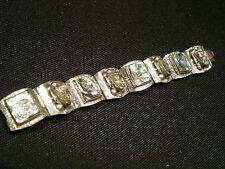 Vintage Alpaca Bracelet With Carved Abalone Links