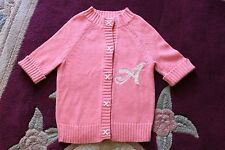 Aeropostale WOMENS S/P Jr Girls PINK Coral Rabbit Short Sleeve CARDIGAN SWEATER