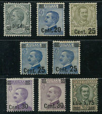 1924 Effigie di Vittorio Emanuele III SOVRASRAMPATI - 8 valori Nuovi MNH Regno