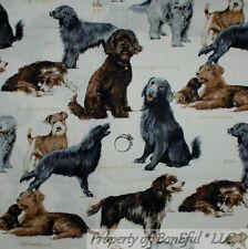 BonEful Fabric FQ Cotton Dog Breed Retriever B&W Gold Tan Gray Irish Sheep Hound