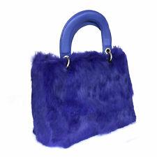 New Fashionable High Quality Ladies Blue Fur Tote Handbag