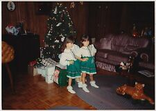 Vintage 80s Photo Pair Little Twin Girls In Matching Christmas Dresses