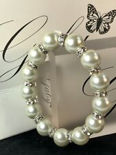 Pearl & Diamante Elasticated Bracelet By Gaby NWT - Gift Wrapped