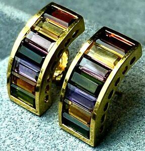 18K Yellow Gold Multi-Color Gem Peridot Citrine Garnet Amethyst Rainbow Earrings