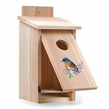 Bluebird Wooden House Outside Birdhouses With Bilateral Secure Latch Rain Proof