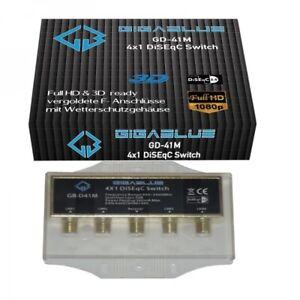 GigaBlue DiSEqC Schalter 4/1 vergoldet Sat Switch HD 3D Umschalter Wetterschutz