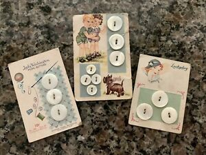 Three Vintage Button Cards Cute Graphics