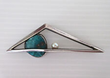 Rare Antonio Pineda Abstract Modernist 970 Sterling Amazonite Pearl Pin Brooch