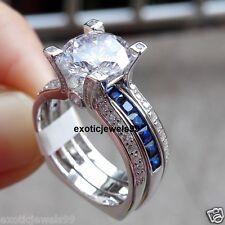 2.95ct Off White Moissanite Engagement Wedding 925 Silver Ring Band Set Free Shi